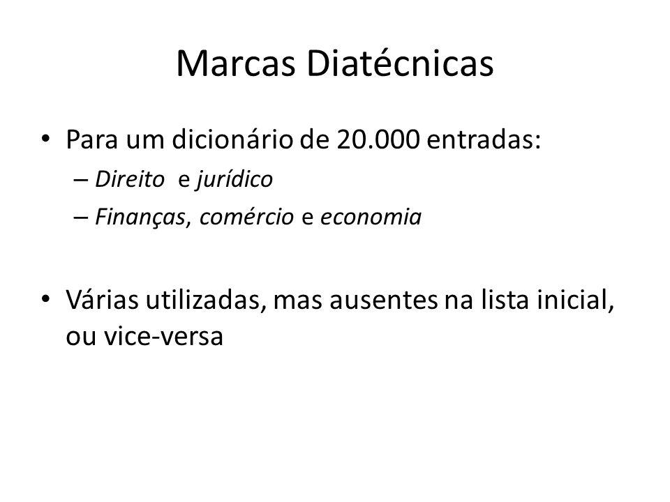 Marcas Diatécnicas Para um dicionário de 20.000 entradas: