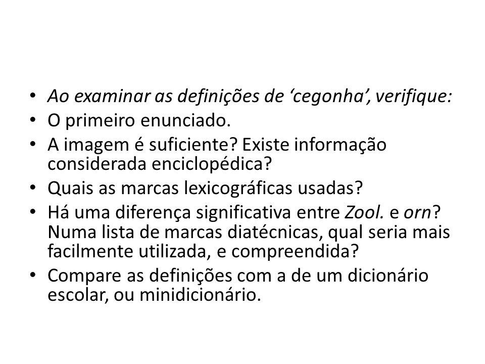 Ao examinar as definições de 'cegonha', verifique: