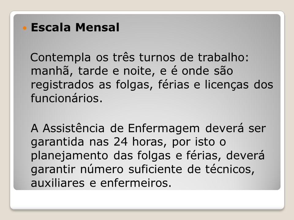 Escala Mensal Contempla os três turnos de trabalho: manhã, tarde e noite, e é onde são registrados as folgas, férias e licenças dos funcionários.
