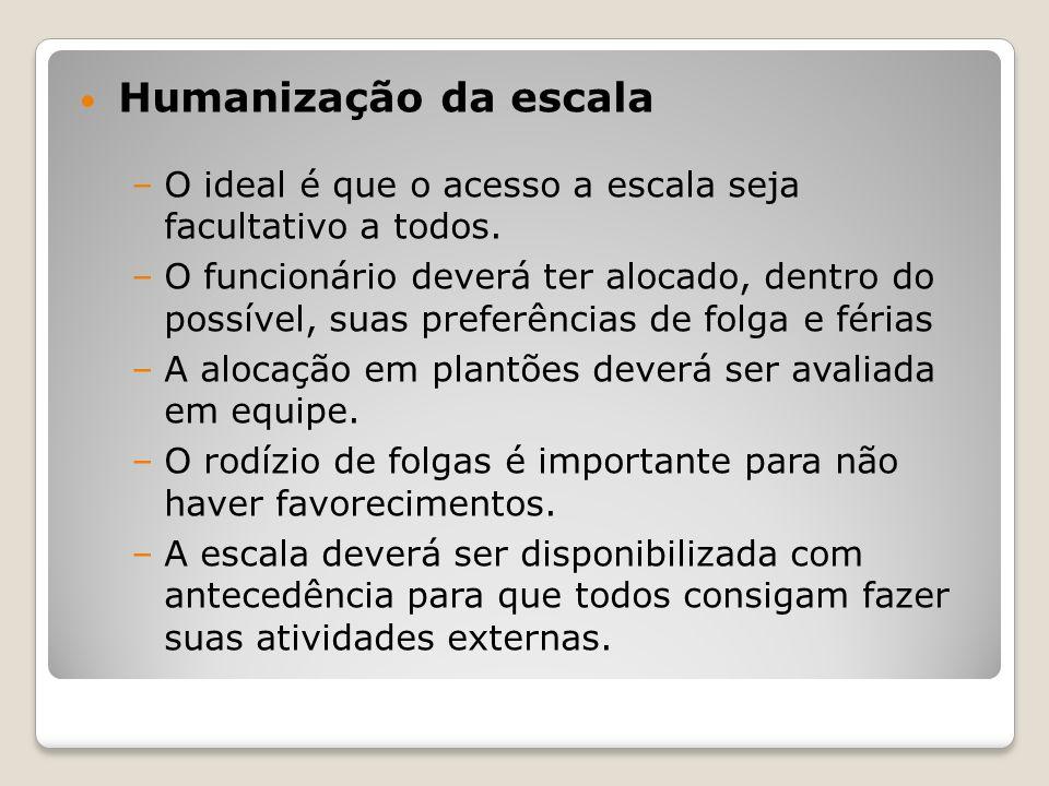 Humanização da escala O ideal é que o acesso a escala seja facultativo a todos.