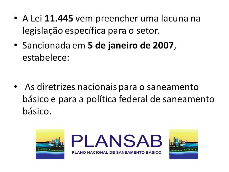 A Lei 11.445 vem preencher uma lacuna na legislação específica para o setor.