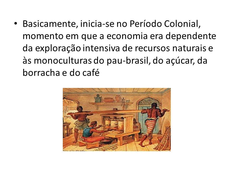 Basicamente, inicia-se no Período Colonial, momento em que a economia era dependente da exploração intensiva de recursos naturais e às monoculturas do pau-brasil, do açúcar, da borracha e do café