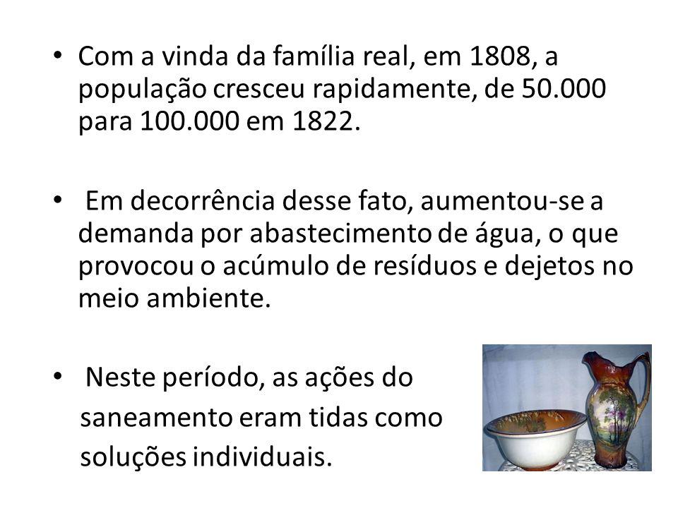 Com a vinda da família real, em 1808, a população cresceu rapidamente, de 50.000 para 100.000 em 1822.