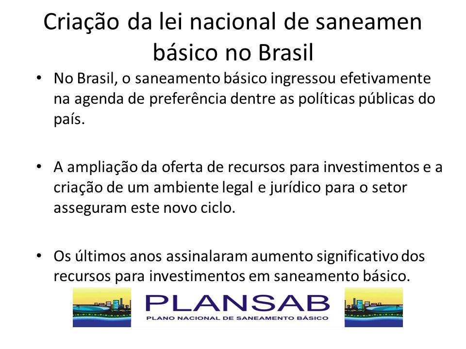 Criação da lei nacional de saneamen básico no Brasil