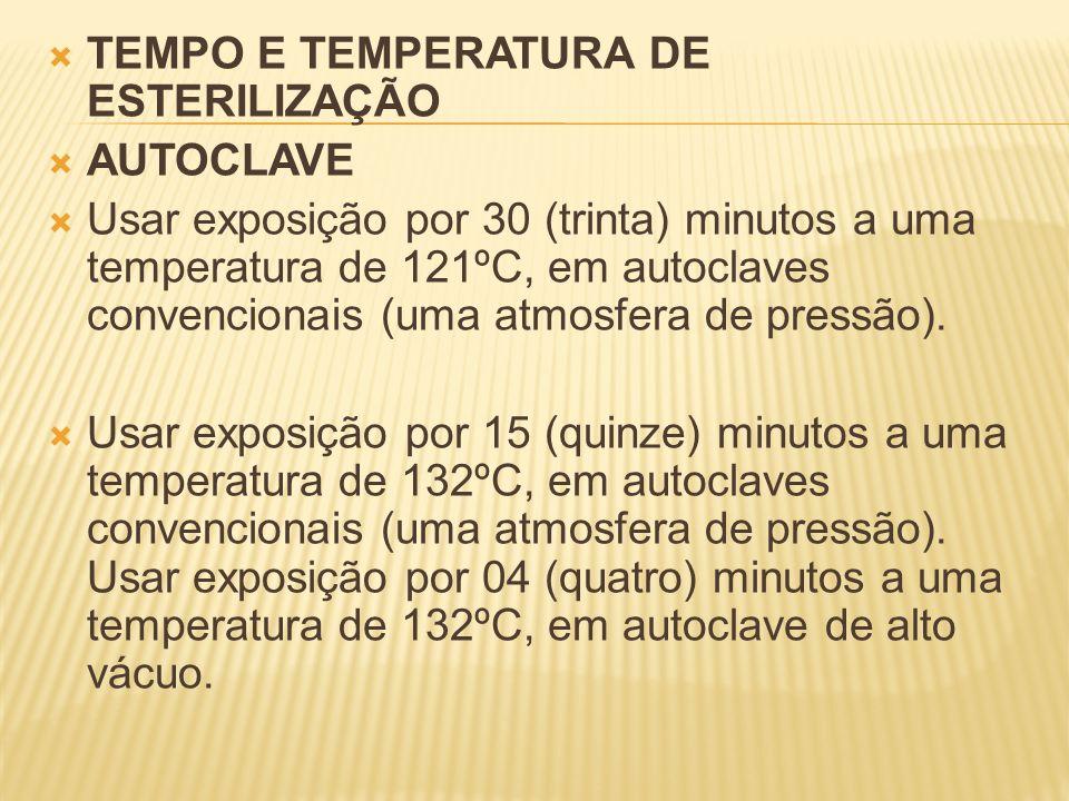 TEMPO E TEMPERATURA DE ESTERILIZAÇÃO