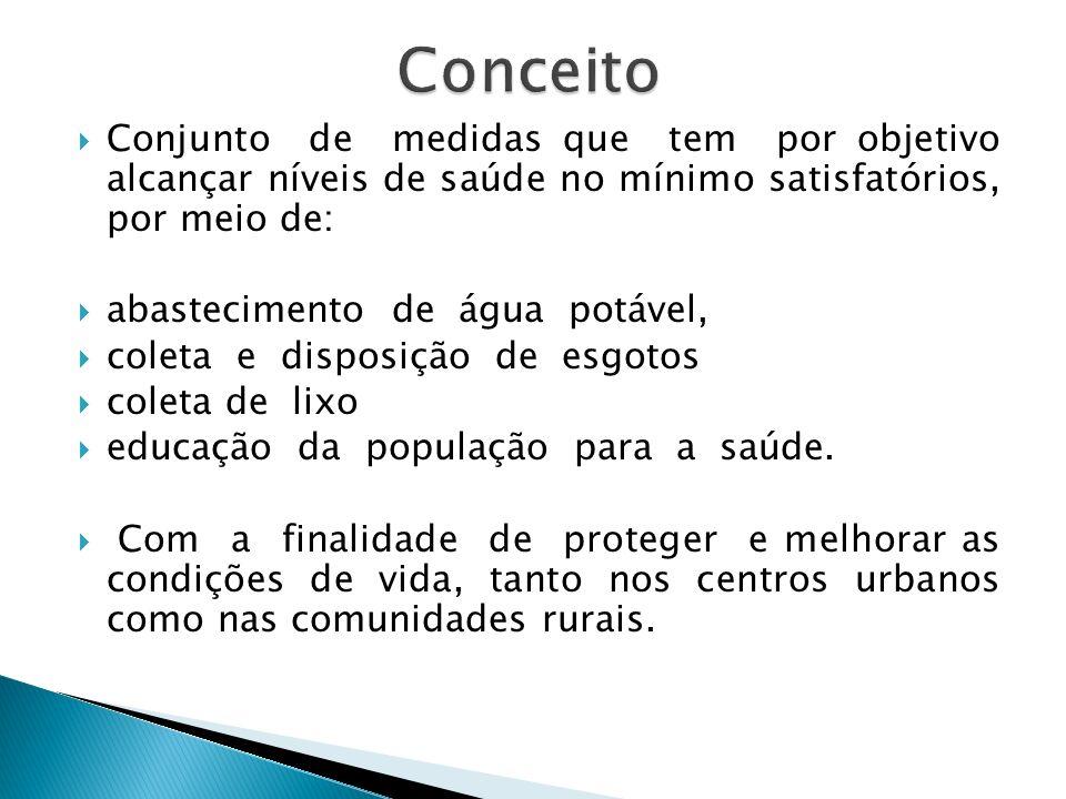 Conceito Conjunto de medidas que tem por objetivo alcançar níveis de saúde no mínimo satisfatórios, por meio de: