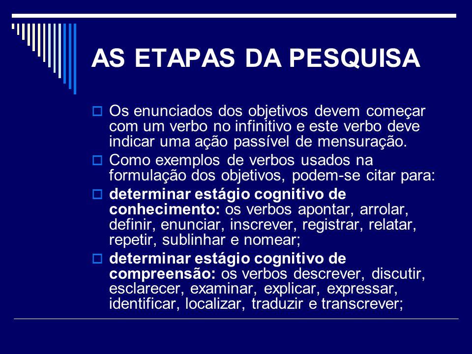 AS ETAPAS DA PESQUISA Os enunciados dos objetivos devem começar com um verbo no infinitivo e este verbo deve indicar uma ação passível de mensuração.
