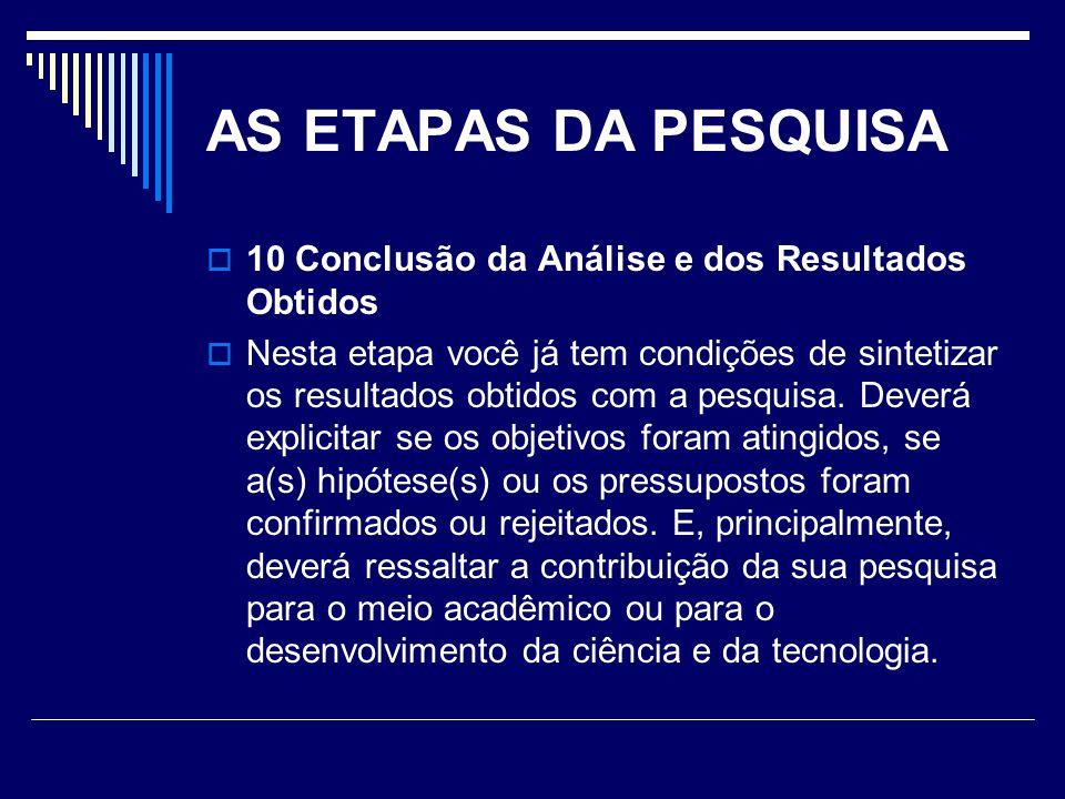 AS ETAPAS DA PESQUISA 10 Conclusão da Análise e dos Resultados Obtidos