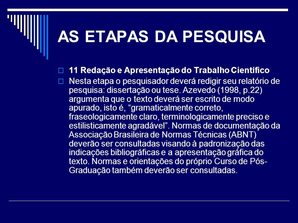 AS ETAPAS DA PESQUISA 11 Redação e Apresentação do Trabalho Científico