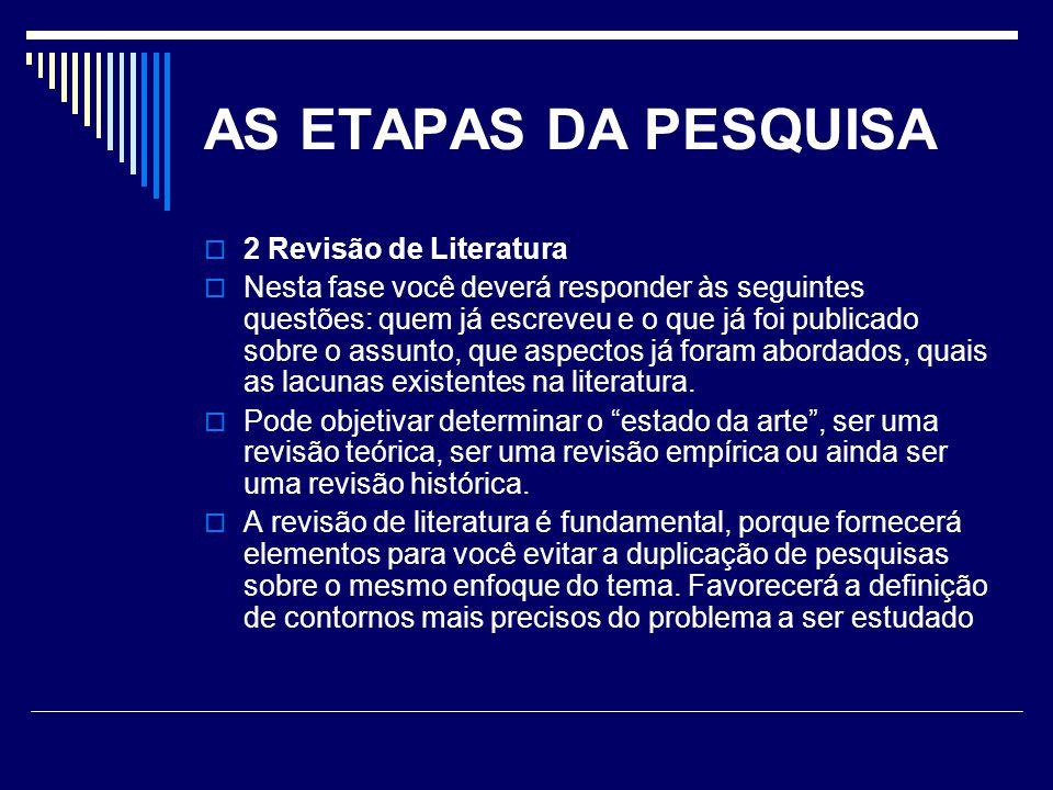 AS ETAPAS DA PESQUISA 2 Revisão de Literatura