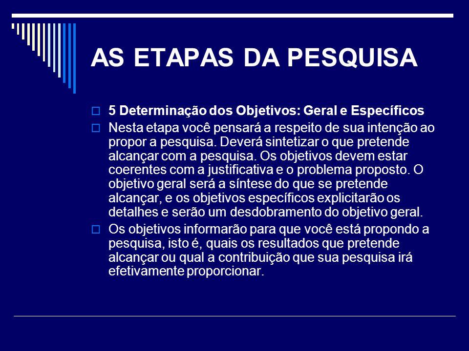 AS ETAPAS DA PESQUISA 5 Determinação dos Objetivos: Geral e Específicos.