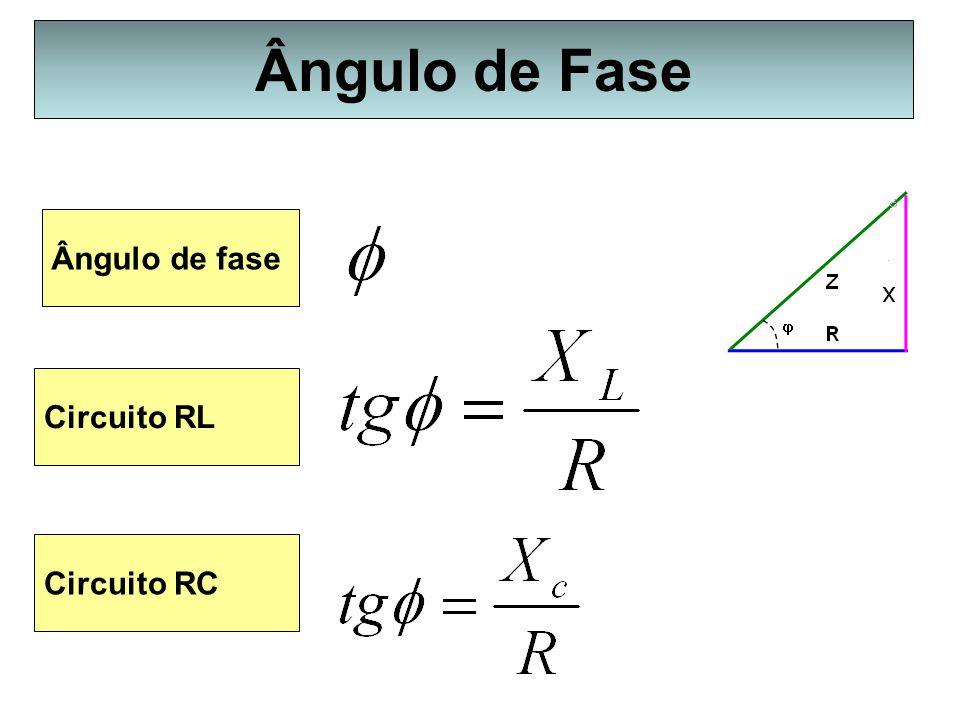Ângulo de Fase Ângulo de fase Circuito RL Circuito RC