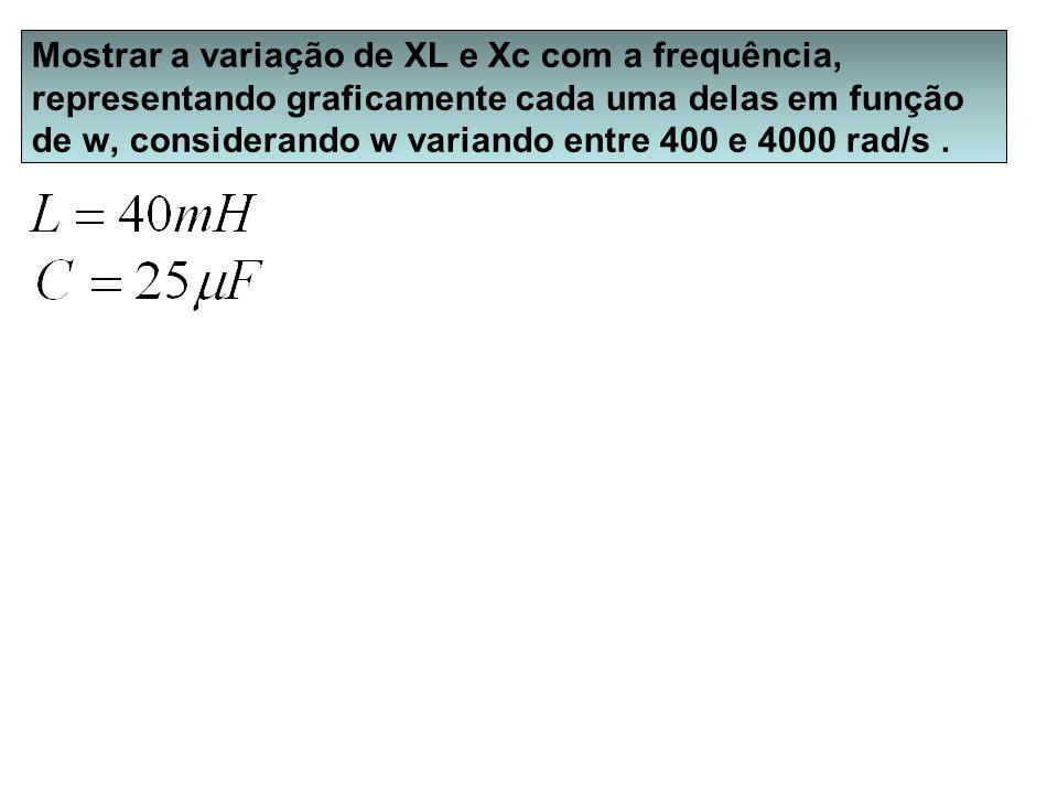 Mostrar a variação de XL e Xc com a frequência, representando graficamente cada uma delas em função de w, considerando w variando entre 400 e 4000 rad/s .