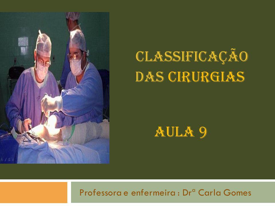 Classificação das Cirurgias Aula 9