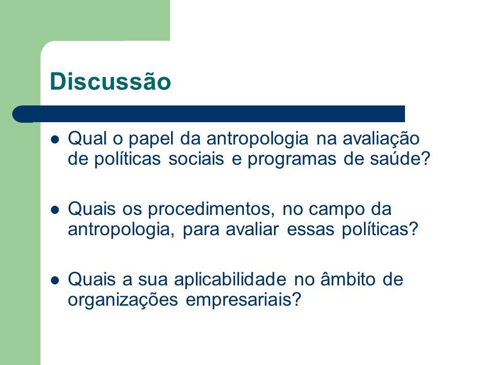 Discussão Qual o papel da antropologia na avaliação de políticas sociais e programas de saúde