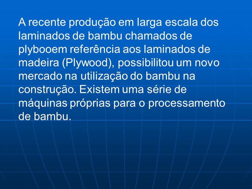 A recente produção em larga escala dos laminados de bambu chamados de plybooem referência aos laminados de madeira (Plywood), possibilitou um novo mercado na utilização do bambu na construção.