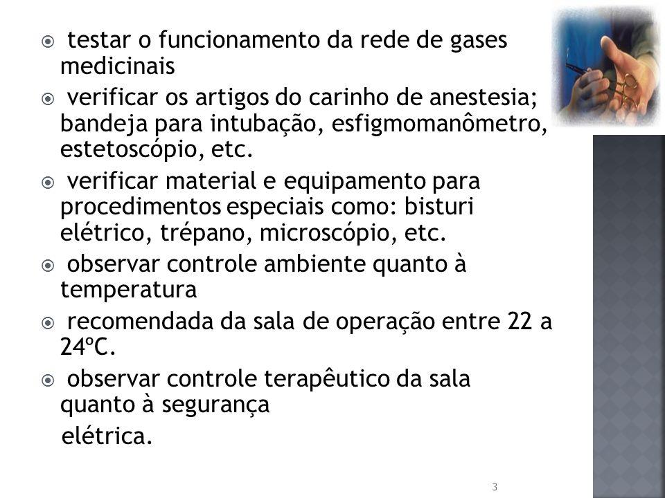 testar o funcionamento da rede de gases medicinais