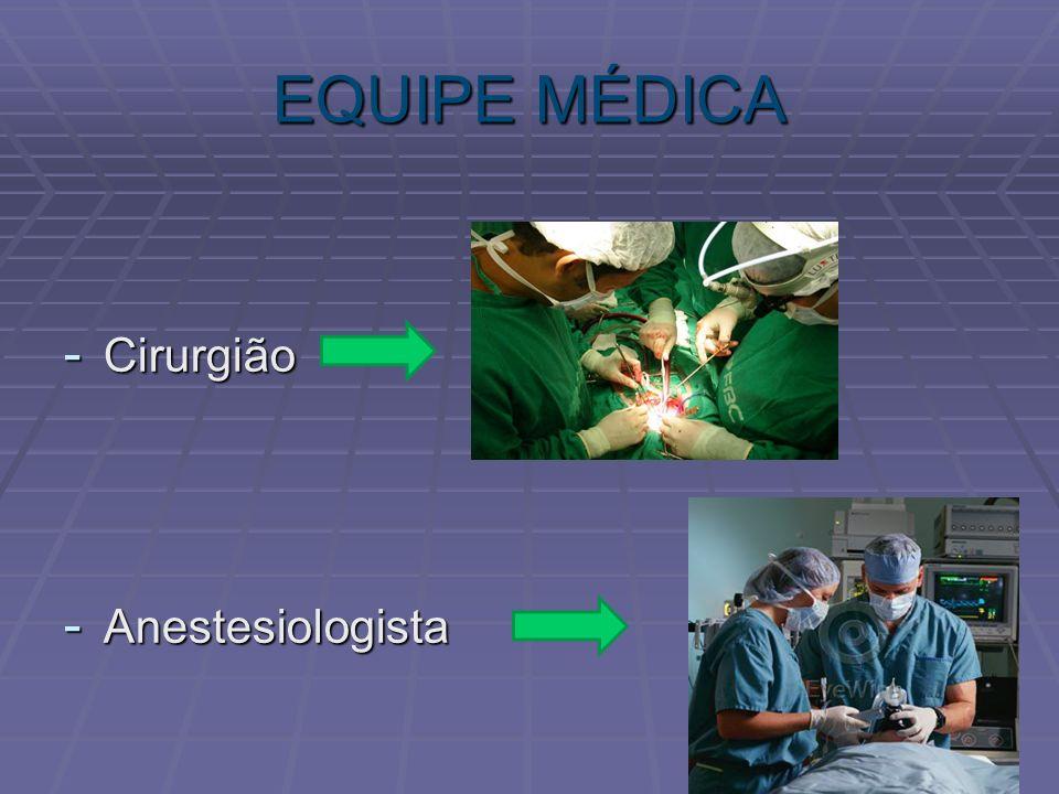 EQUIPE MÉDICA Cirurgião Anestesiologista