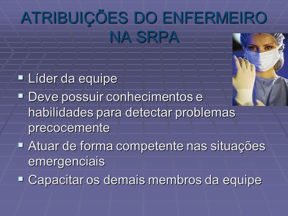 ATRIBUIÇÕES DO ENFERMEIRO NA SRPA
