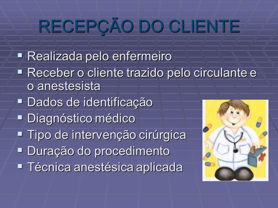 RECEPÇÃO DO CLIENTE Realizada pelo enfermeiro