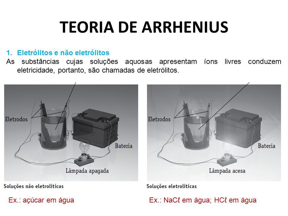 TEORIA DE ARRHENIUS Eletrólitos e não eletrólitos