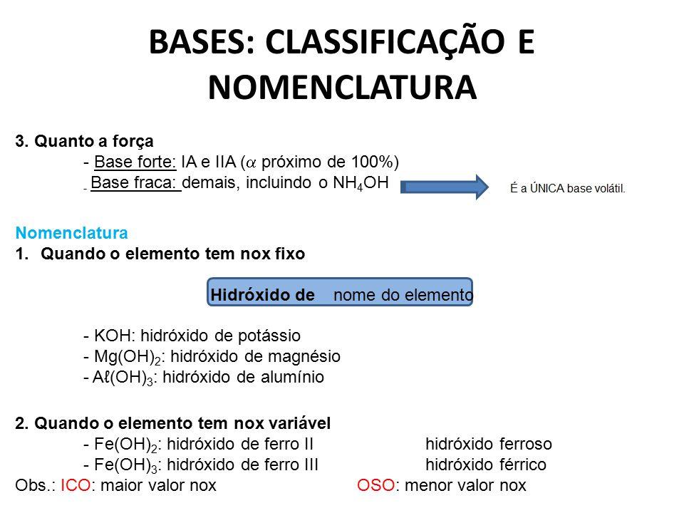 BASES: CLASSIFICAÇÃO E NOMENCLATURA