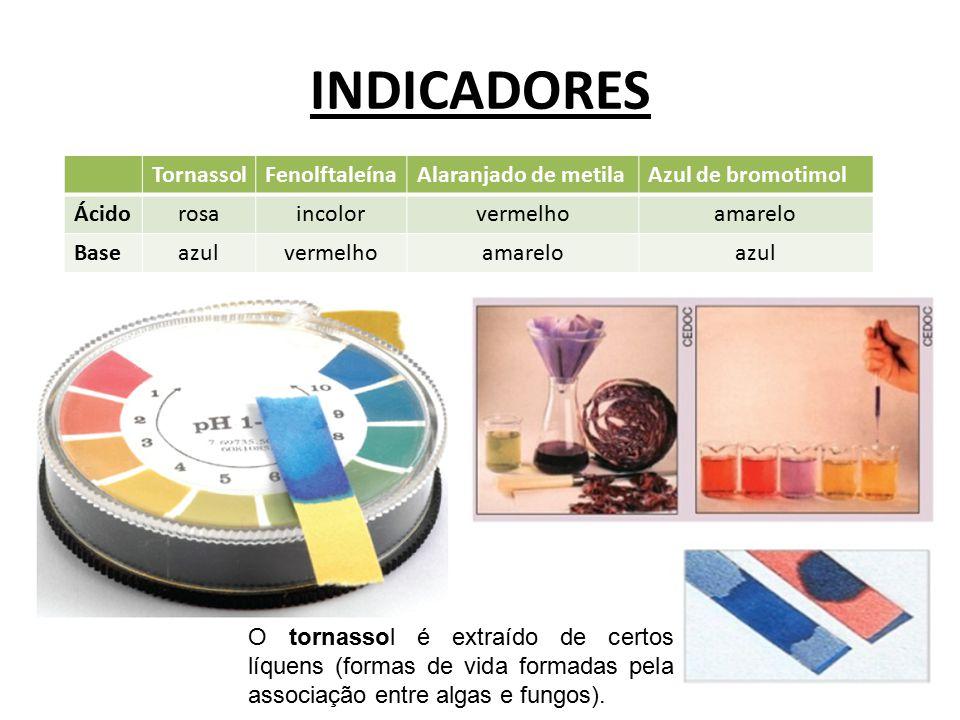 INDICADORES Tornassol Fenolftaleína Alaranjado de metila