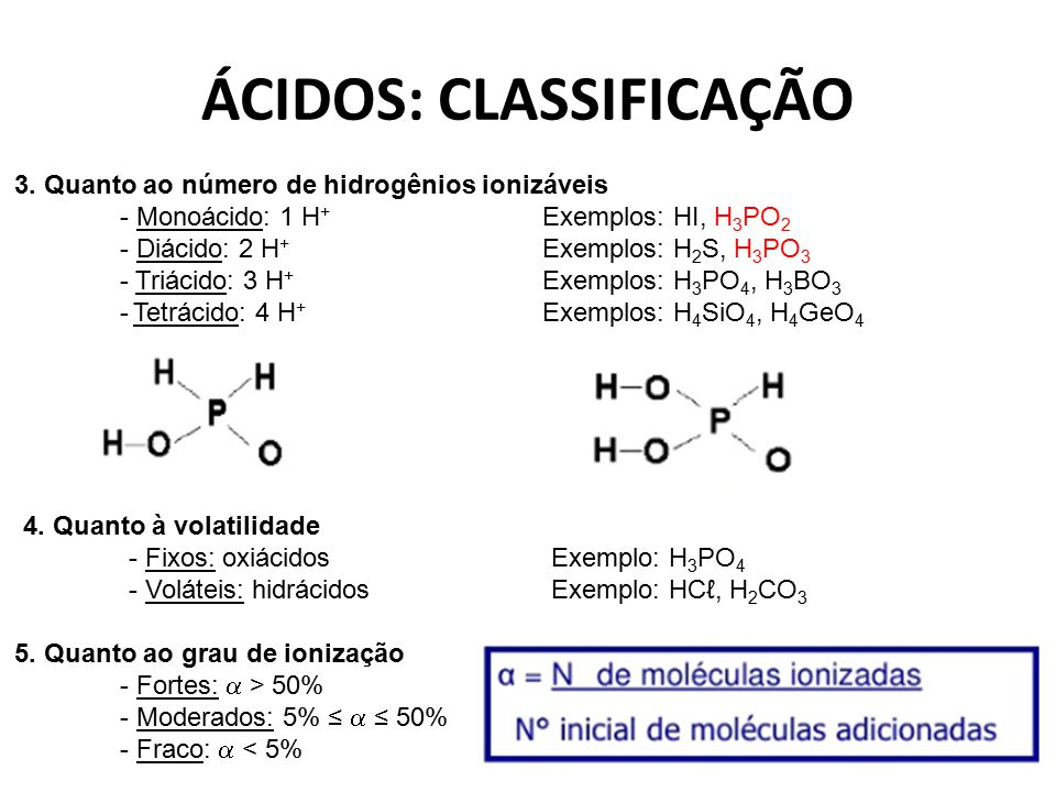 ÁCIDOS: CLASSIFICAÇÃO