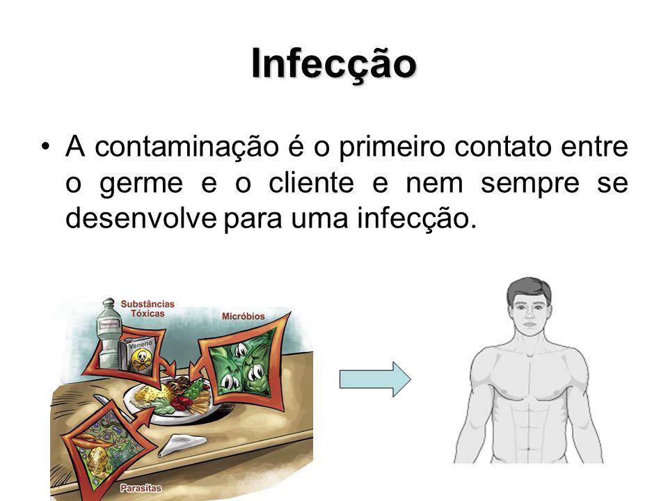 Infecção A contaminação é o primeiro contato entre o germe e o cliente e nem sempre se desenvolve para uma infecção.