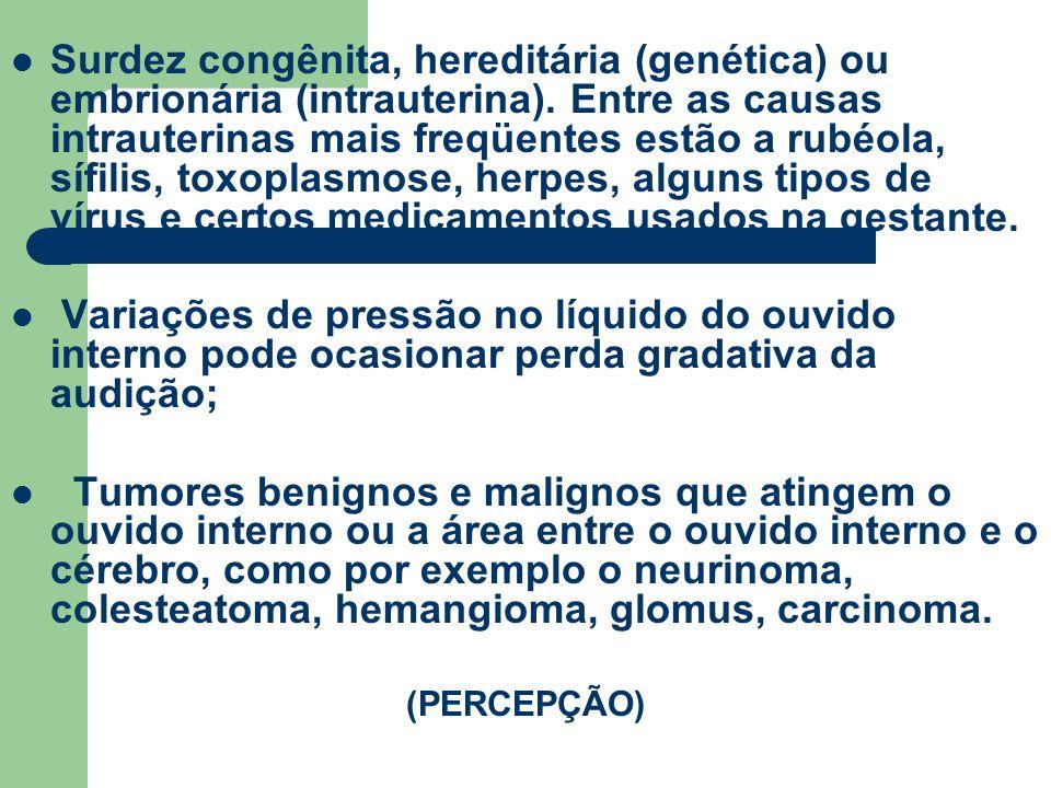 Surdez congênita, hereditária (genética) ou embrionária (intrauterina)