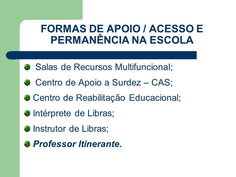 FORMAS DE APOIO / ACESSO E PERMANÊNCIA NA ESCOLA