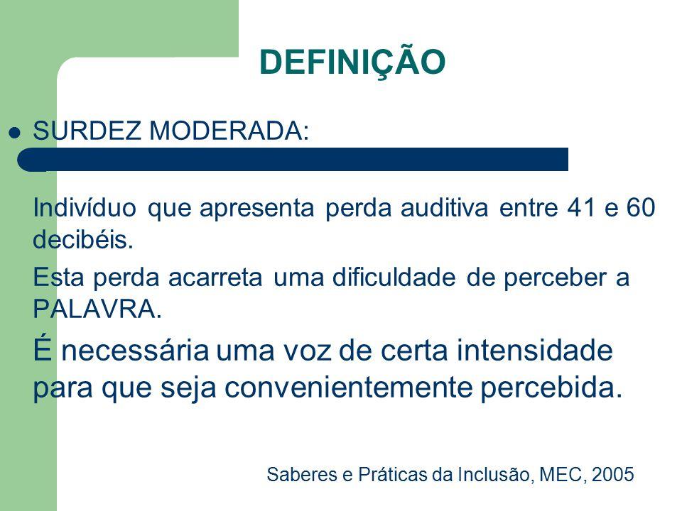 DEFINIÇÃO SURDEZ MODERADA: