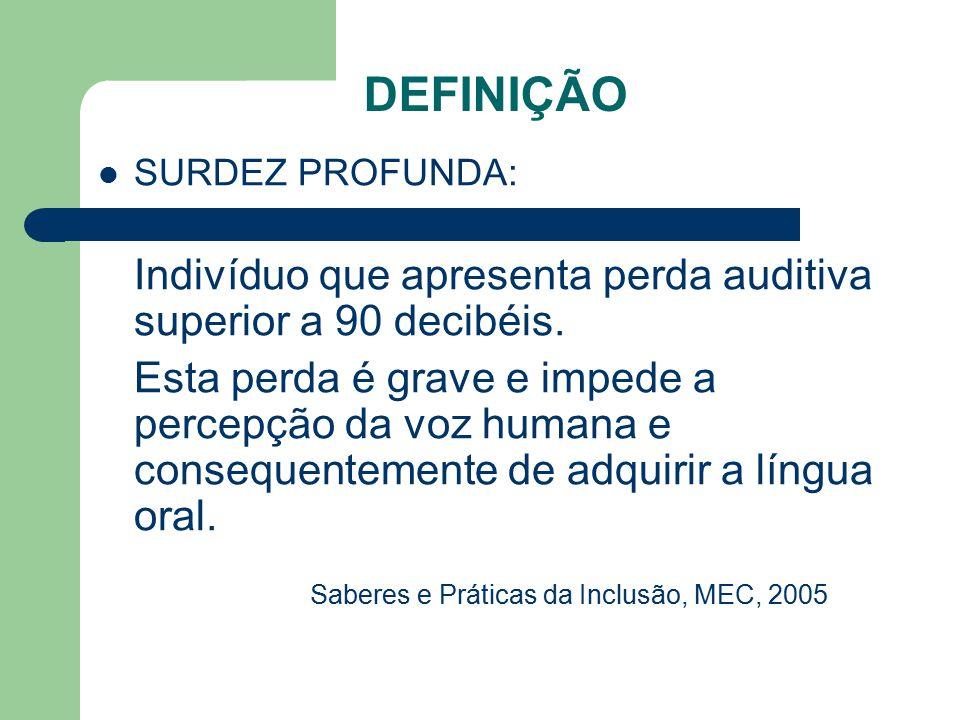 DEFINIÇÃO SURDEZ PROFUNDA: Indivíduo que apresenta perda auditiva superior a 90 decibéis.