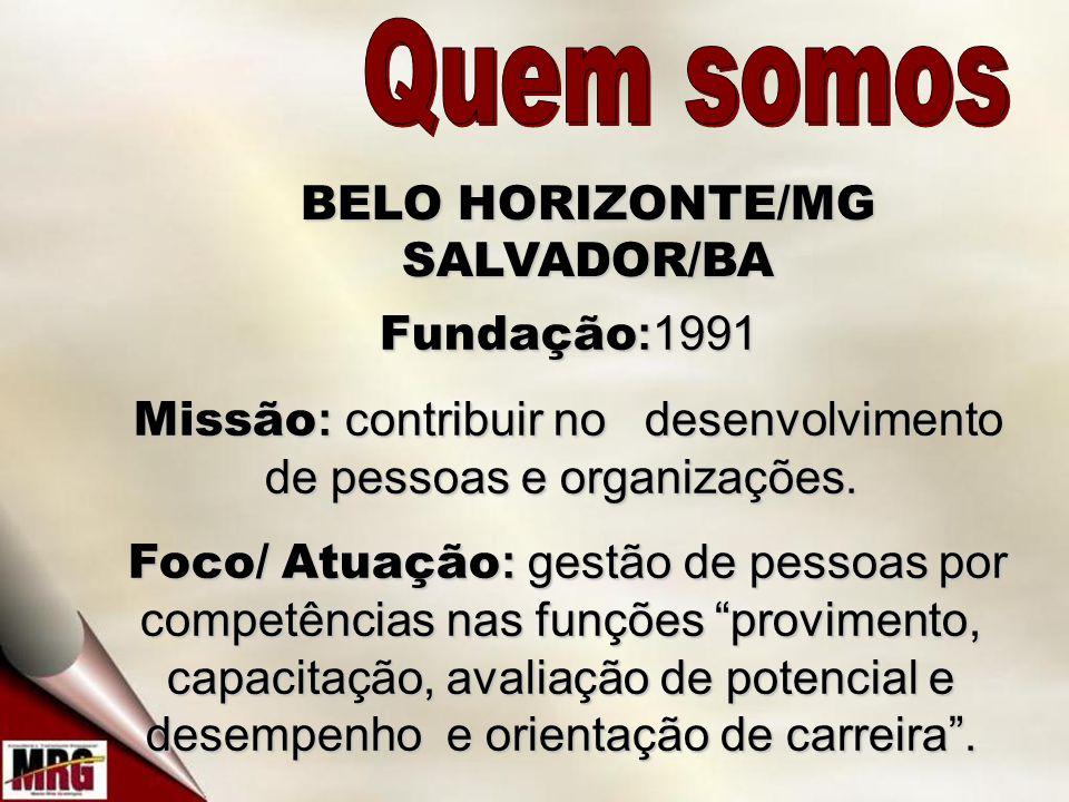 Quem somos BELO HORIZONTE/MG SALVADOR/BA Fundação:1991