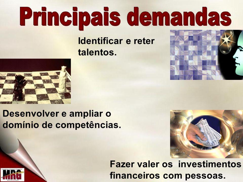 Principais demandas Identificar e reter talentos.