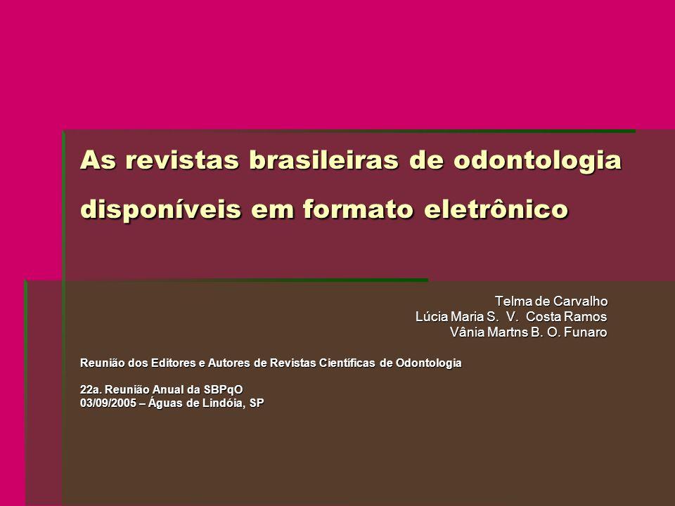 As revistas brasileiras de odontologia disponíveis em formato eletrônico