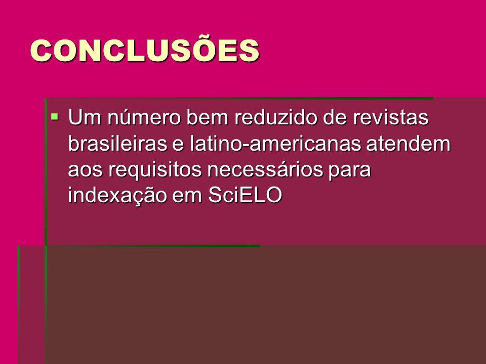 CONCLUSÕES Um número bem reduzido de revistas brasileiras e latino-americanas atendem aos requisitos necessários para indexação em SciELO.