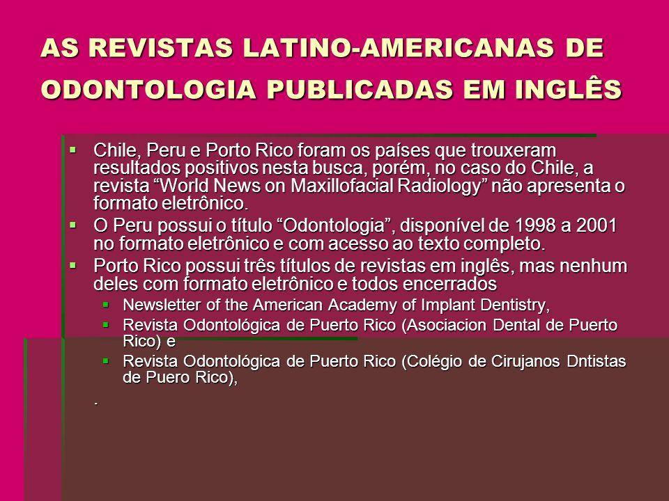 AS REVISTAS LATINO-AMERICANAS DE ODONTOLOGIA PUBLICADAS EM INGLÊS