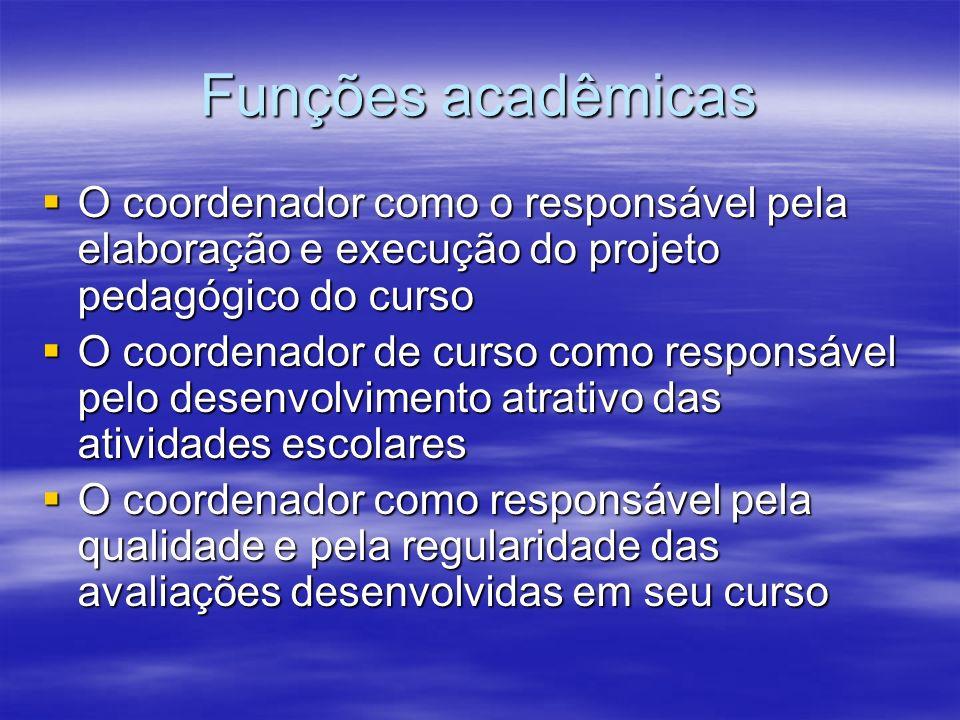Funções acadêmicas O coordenador como o responsável pela elaboração e execução do projeto pedagógico do curso.