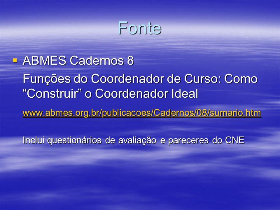 FonteABMES Cadernos 8. Funções do Coordenador de Curso: Como Construir o Coordenador Ideal. www.abmes.org.br/publicacoes/Cadernos/08/sumario.htm.