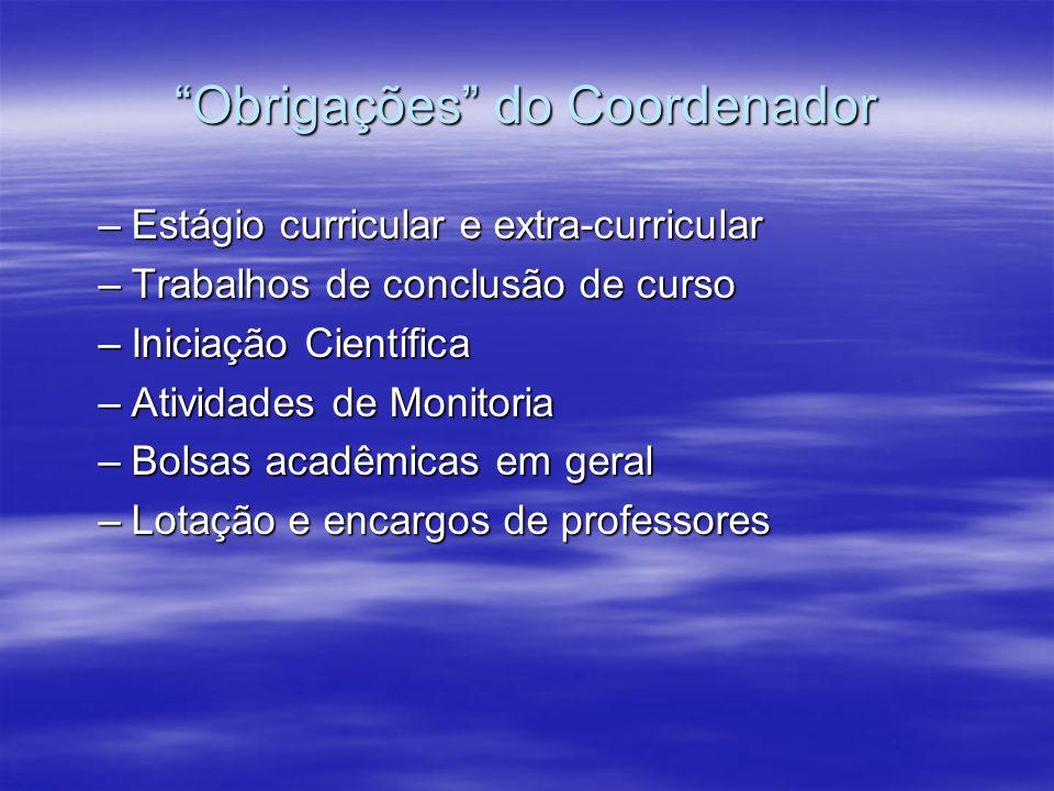 Obrigações do Coordenador