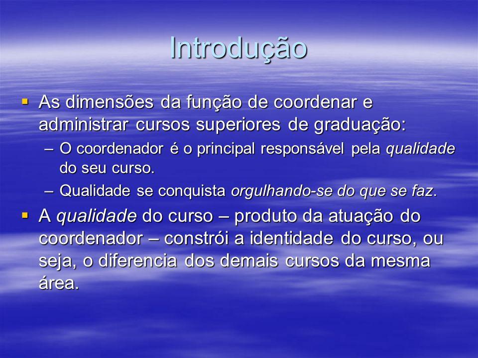 IntroduçãoAs dimensões da função de coordenar e administrar cursos superiores de graduação: