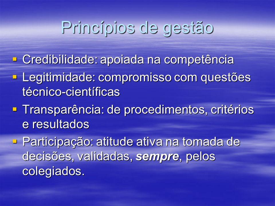 Princípios de gestão Credibilidade: apoiada na competência