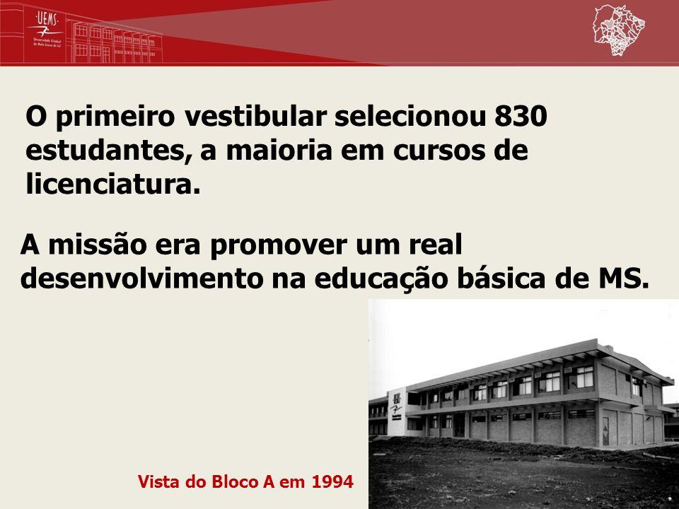 O primeiro vestibular selecionou 830 estudantes, a maioria em cursos de licenciatura.