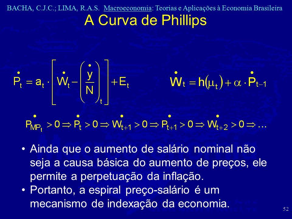A Curva de Phillips Ainda que o aumento de salário nominal não seja a causa básica do aumento de preços, ele permite a perpetuação da inflação.