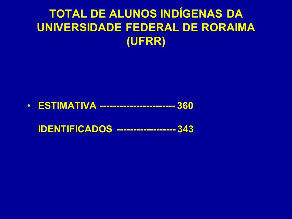 TOTAL DE ALUNOS INDÍGENAS DA UNIVERSIDADE FEDERAL DE RORAIMA (UFRR)