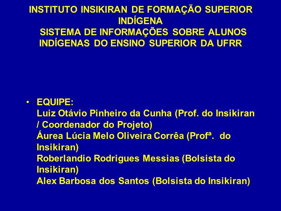 INSTITUTO INSIKIRAN DE FORMAÇÃO SUPERIOR INDÍGENA SISTEMA DE INFORMAÇÕES SOBRE ALUNOS INDÍGENAS DO ENSINO SUPERIOR DA UFRR