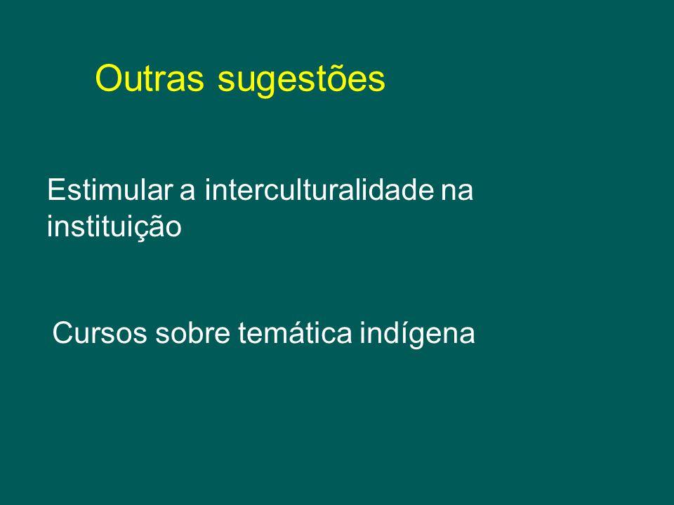 Outras sugestões Estimular a interculturalidade na instituição