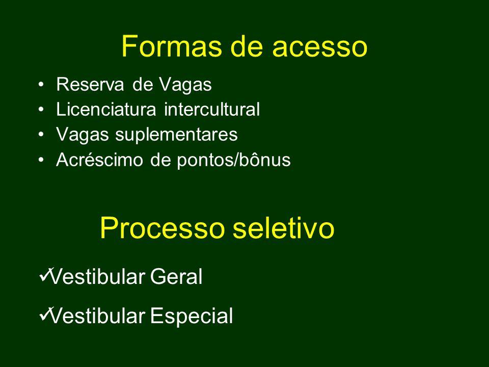 Formas de acesso Processo seletivo Vestibular Geral