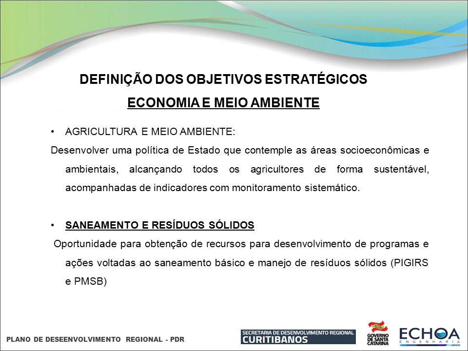 DEFINIÇÃO DOS OBJETIVOS ESTRATÉGICOS ECONOMIA E MEIO AMBIENTE